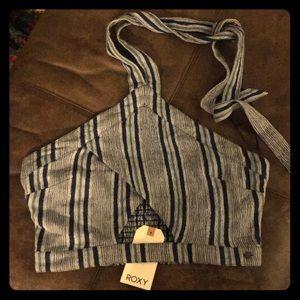 🆕💙 ROXY Striped Crop Neck Tie Tube Top Blue